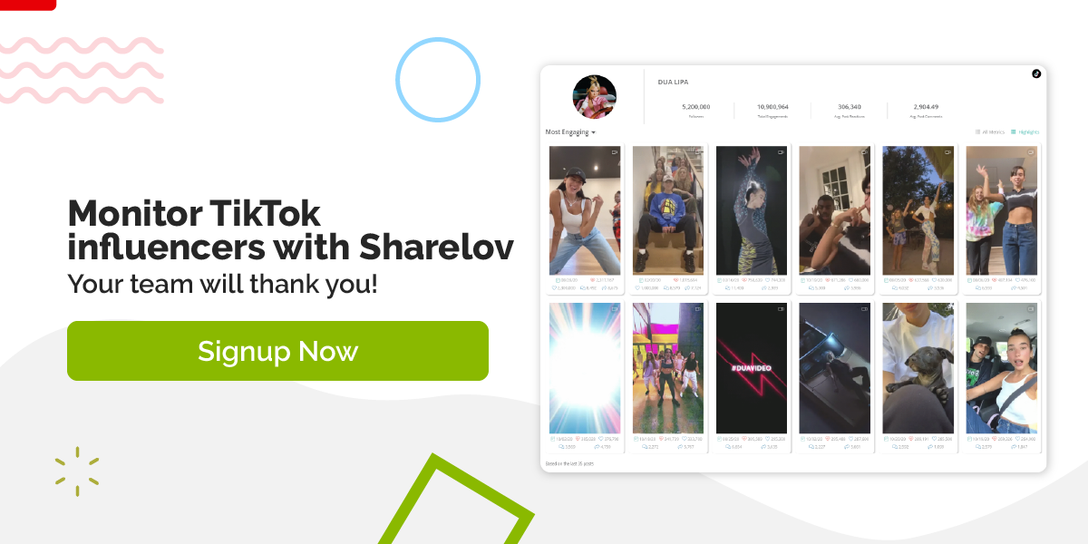Monitor TikTok influencers with Sharelov Your team will thank you