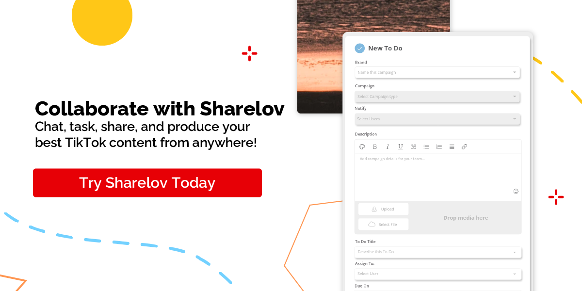 Collaborate with Sharelov Chat, task, share, and produce your best TikTok content from anywhere! Try Sharelov Today