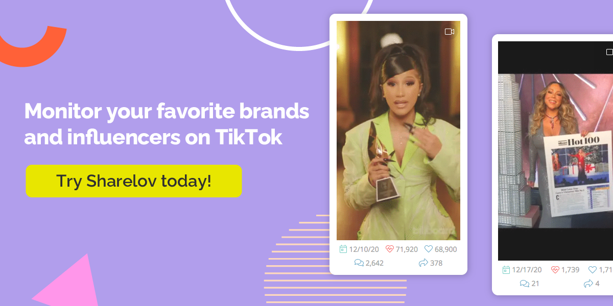 Monitor your favorite brands and influencers on TikTok Try Sharelov today!