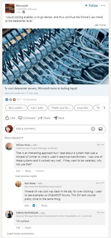 LinkedIn comment engagement example