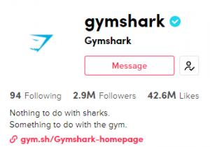gymshark sportswear TikTok profile