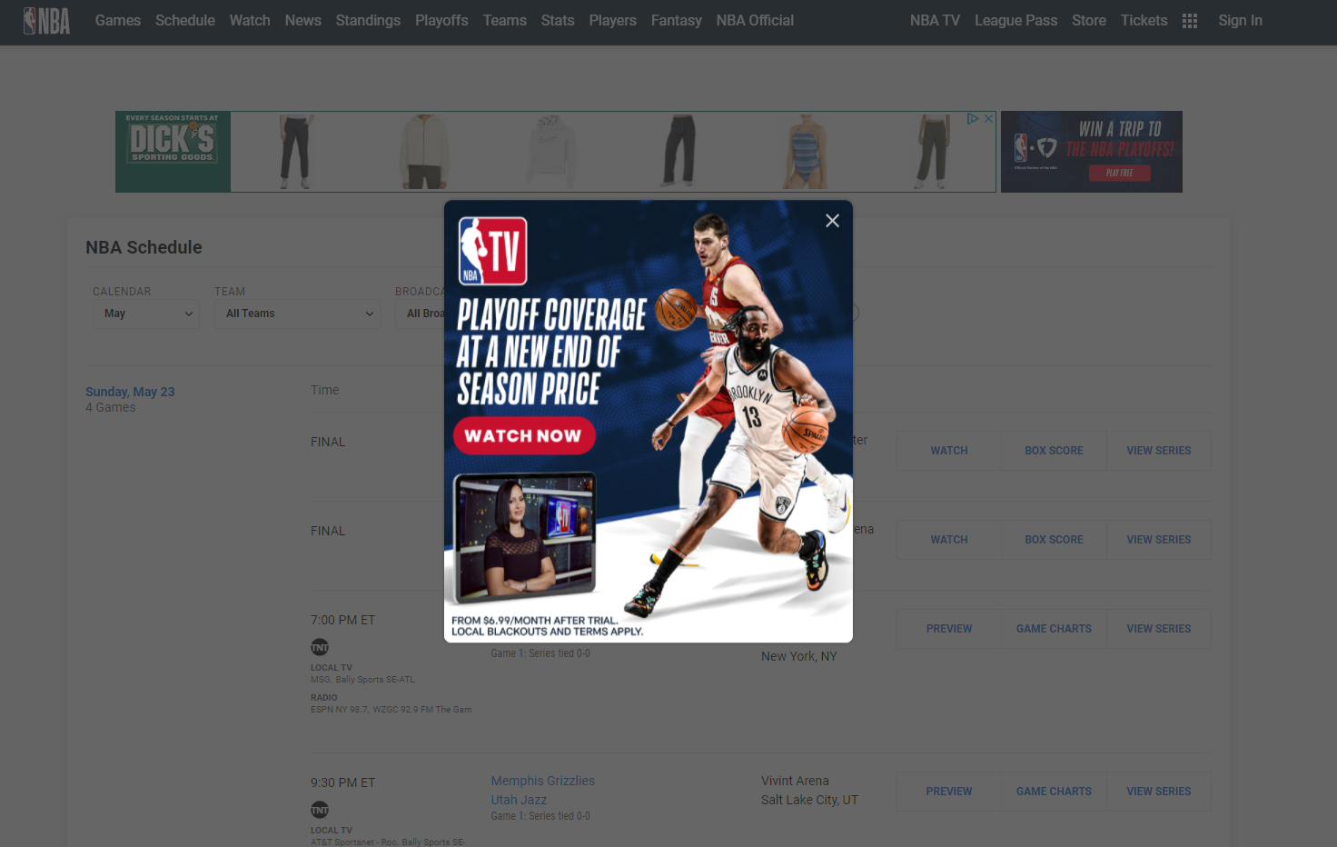 NBA TikTok landing page overlay