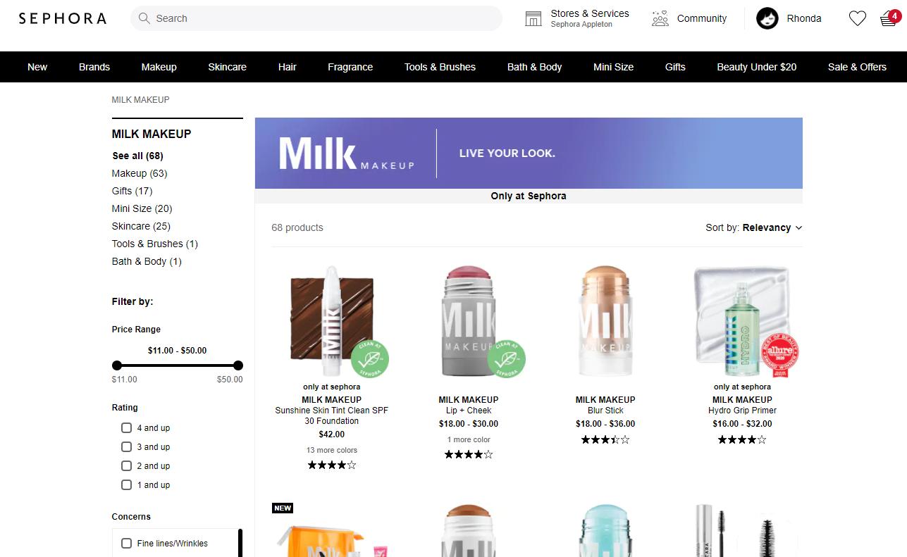 Milk Makeup Sephora TikTok Landing page