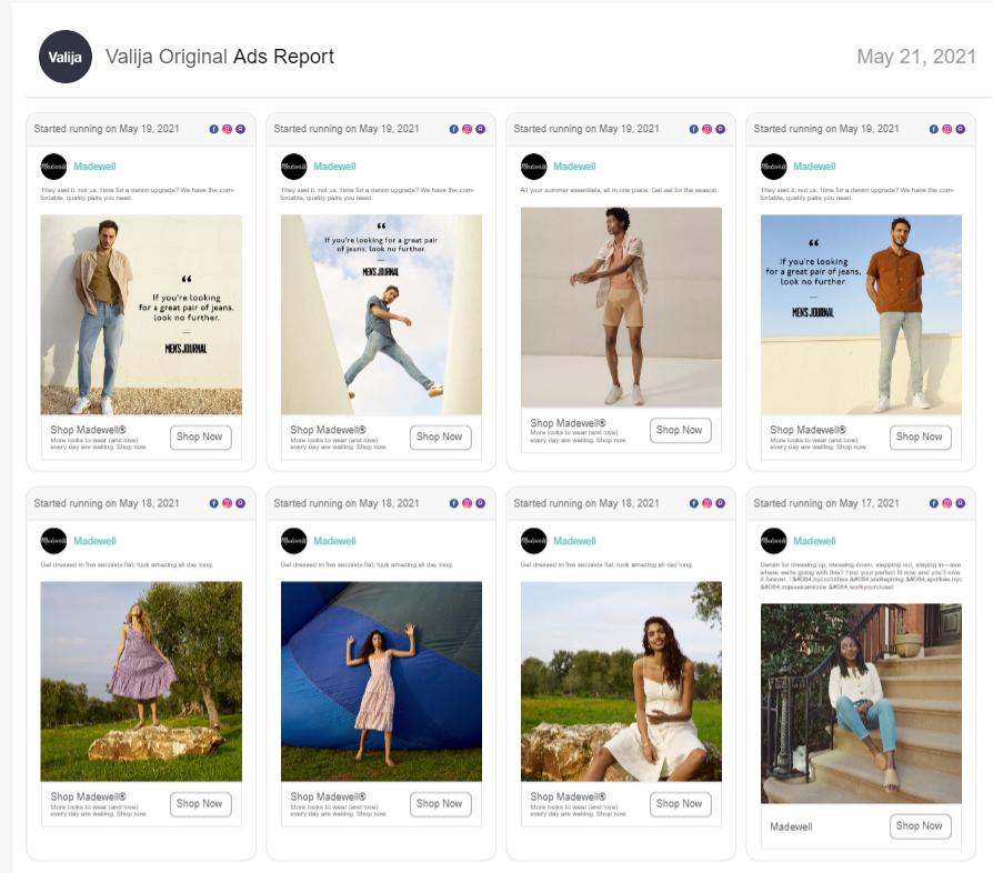 Ads report example Sharelov