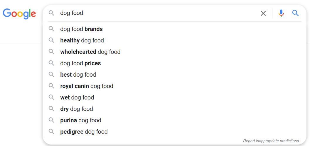google predictive search example