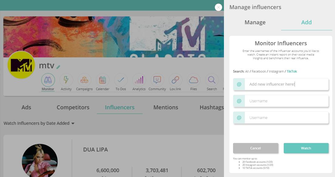 influencer monitoring add example Sharelov