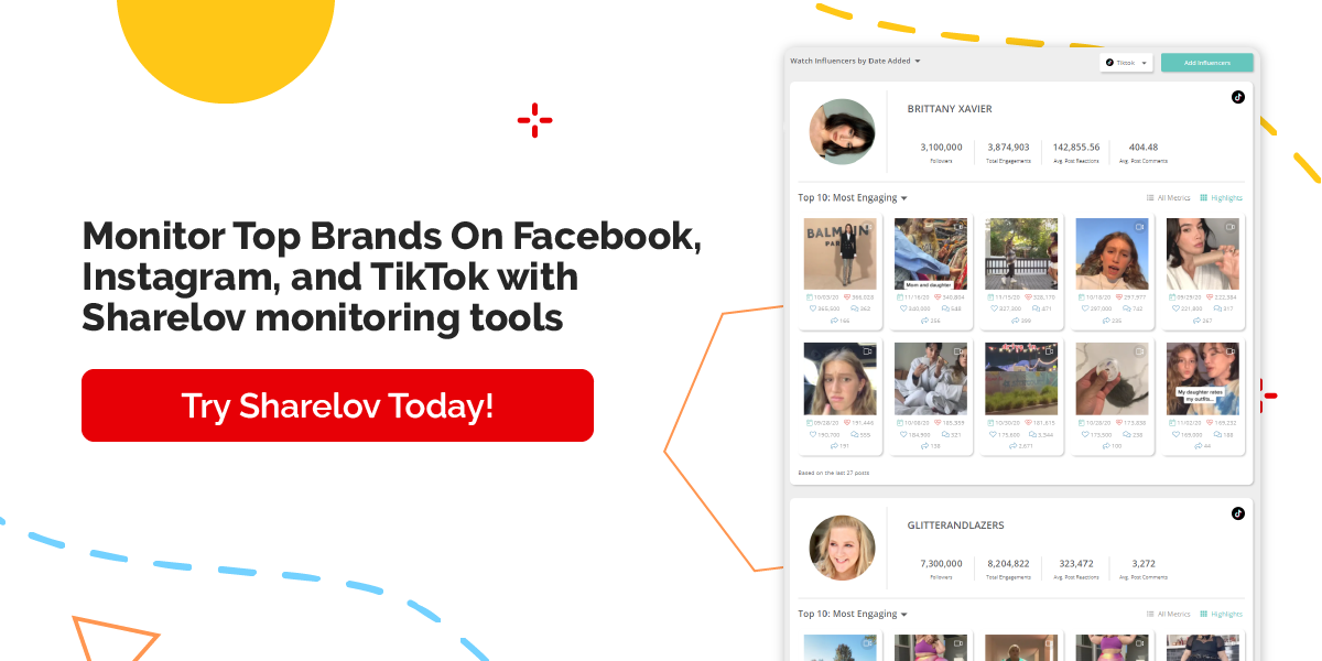 Monitor Top Brands On Facebook, Instagram, and TikTok with Sharelov monitoring tools Try it today!