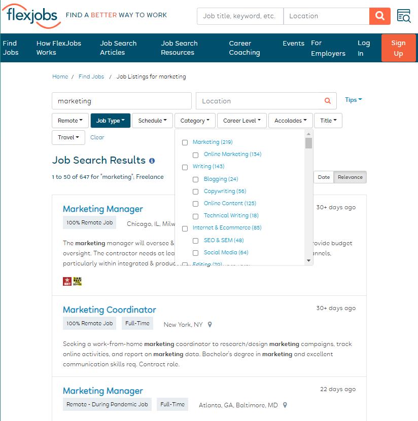 flexjobs site exmple